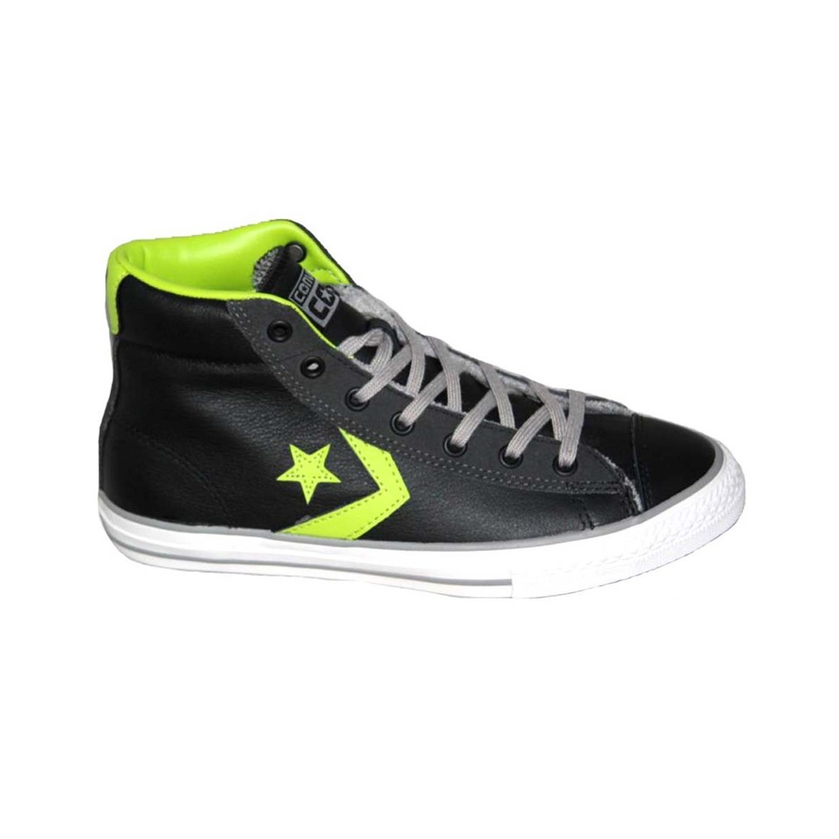 SCARPE CONVERSE STAR PLAYER EV MID LEATHER/SUE NERE-VERDE LIME A/I 2016 655168C